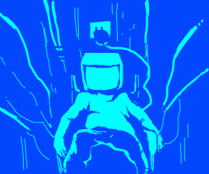 blue man in his room as a computer