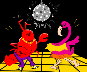 Lobster and flamingo at disco