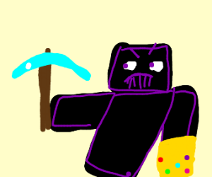 Black minecraft Thanos with diamond pickaxe