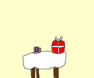 teacup smiling at a present