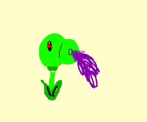 Peashooter throwing up grape juice
