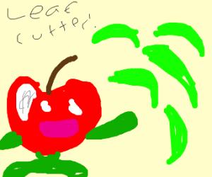 Apple Pokémon uses leaf cutter attack
