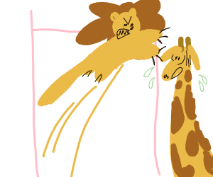 Lion pole vaults in order to kill a giraffe