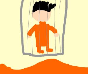 Prisoner over lava