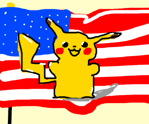 Pikachu in front on American flag