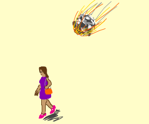 unsuspecting woman about to be hit by meteor