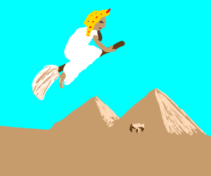 Egyptian Pharaoh flying a mop