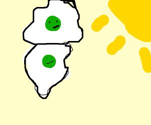 eggs with green yolk facing the sun