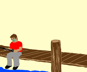 sadly fishing off a dock