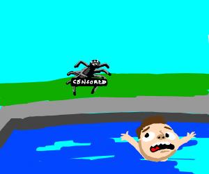 naked spider terrorizes swimmer