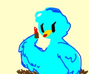 Bird putting on lipstick
