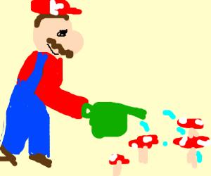 Mario tends his mushroom farm