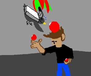 A skydiving bird falling onto a juggler