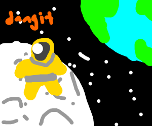 Golden Astronaut stuck on Moon