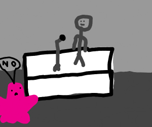 Pink blob man says no to karoke.
