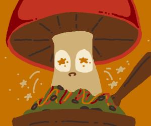mushroom eating a salad