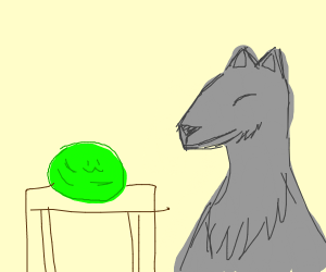 a green,slime and cute wolf