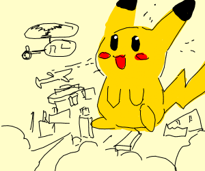 Giant Pikachu destroys a city