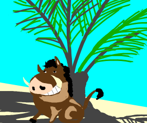 Pumbaa sits in the shade of a coconut tree