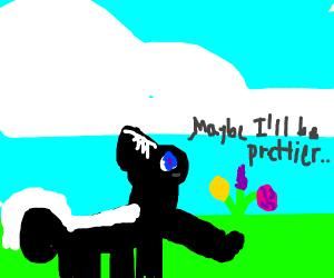 Skunk picking flowers