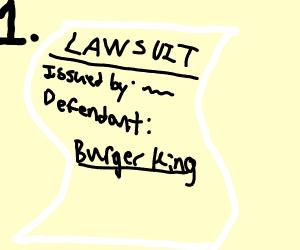 Step 1: sue Burger King