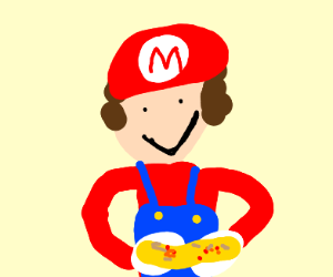 mario delivering pizza
