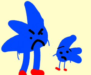 sonic is angry at little sonic
