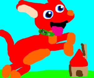 happy big red dog, tiny house