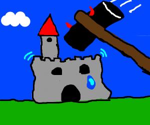 Evil hammer seeks doom of medieval castle.