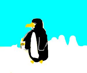 penguin struggling with glue