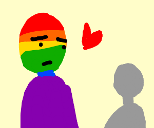 Colorful man is in love with grey man