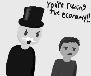 Monopoly Man is angry at millennial