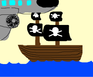 a plane flies over a pirate ship