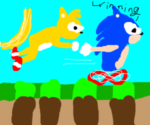 Sonic beating tails