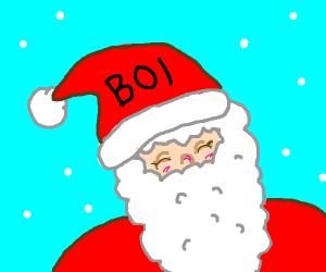 Santa's hat says BOI