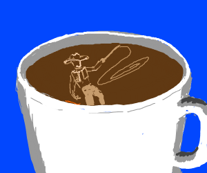 Cowboy in coffee holding a whip