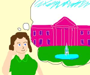 Woman thinking about a pink white house