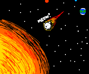 Cat in space is about to fall into the sun