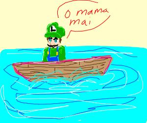 Luigi lost at sea in a boat