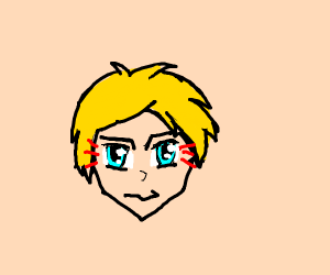 blond anime man stares at you intensely