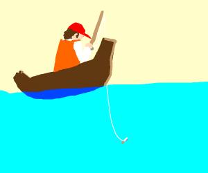 a person fishing a cigarette
