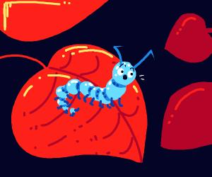 Surprised blue caterpillar