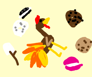 Rooster eating a cookie