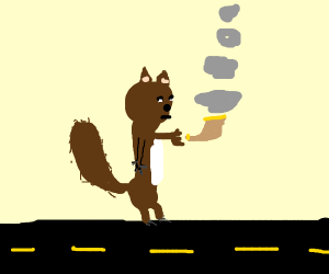 Squirrel smoking a pipe