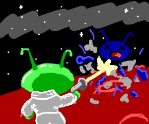 green alien destroys blue alien with laser