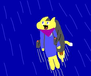 yellow cat with jetpack and purple bandana