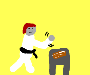 Karate-chopping a piece of bacon