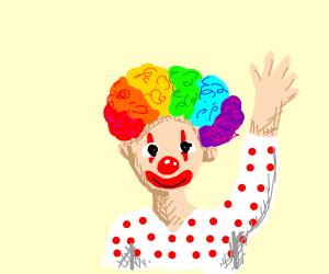 Clown raises hand