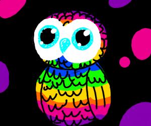 rainbow owl beanie baby