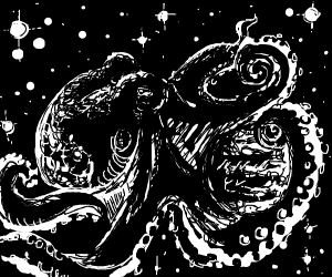 Octopus eating some type of planet thing